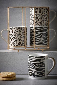 Set of 4 Animal Print Stacking Mugs