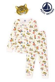Petit Bateau White Floral Pyjamas And Mask Set