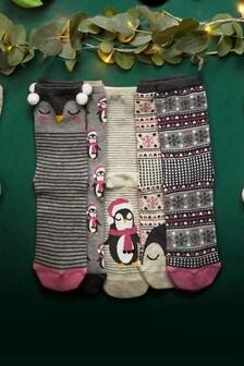 Penguin Pattern Christmas Socks Five Pack