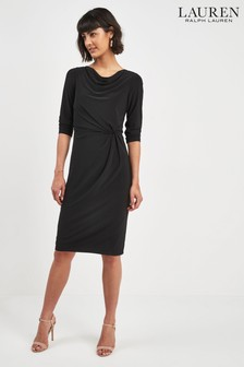 Lauren Ralph Lauren® Black Long Sleeve Drape Dress