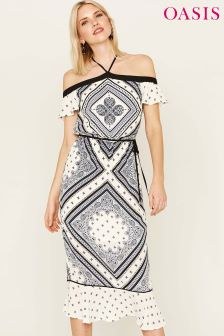 Oasis Natural Scarf Print Peplum Midi Dress