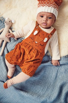Fox Cord Dungarees, Bodysuit And Tights Set (0mths-2yrs)
