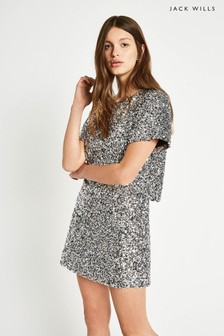Jack Wills Silver Elmshaw Sequin T-Shirt Dress
