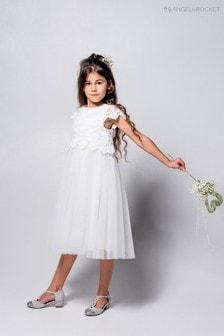 Biała, koronkowa sukienka z okrągłym wykończeniem Angel & Rocket