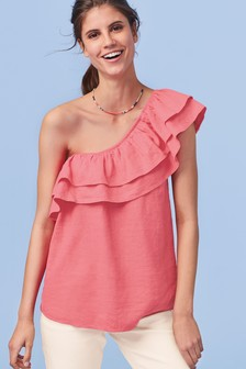 Linen Blend One Shoulder Ruffle Top