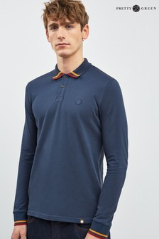 Pretty Green Brooklyn Long Sleeve Tipped Polo