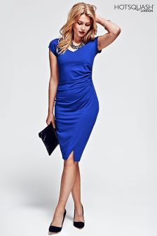 HotSquash Royal Blue Raglan Sleeve Side Ruched Dress