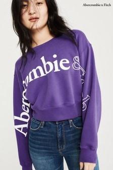 Ras de cou Abercrombie & Fitch violet à logo