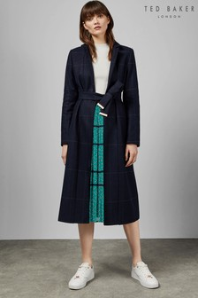 Ted Baker Navy Checked Cuff Tie Trench Coat