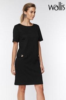 Wallis Petite Black Button Pocket Shift Dress