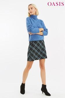 Oasis Green Cassie Check PU Pocket Skirt