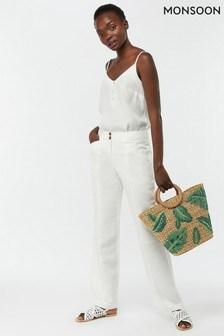 Monsoon Ladies White Emma Regular Linen Trouser