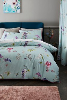 Wisteria Hummingbird Duvet Cover and Pillowcase Set