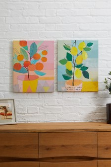 Set of 2 Artist Collection Orange Tree & Lemon Tree by Charlotte Pepper Canvases
