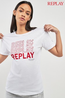 Replay® White Multi Logo T-Shirt