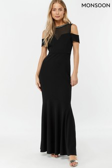 Monsoon Ladies Black Matilda Crepe Trim Maxi Dress