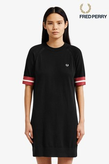 Fred Perry Black Bold Tipped Knitted Dress