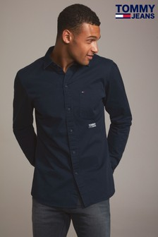 Tommy Jeans Blue Solid Twill Shirt