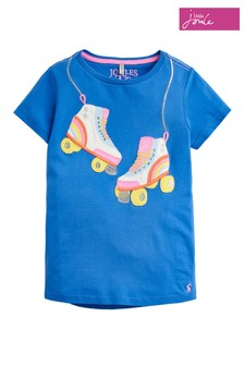 Joules Blue Astra Girls Rainbow Roller Skates Appliqué Top