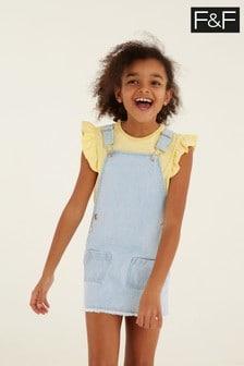 F&F Blue Stripe Pinny With Frill Sleeve T-Shirt