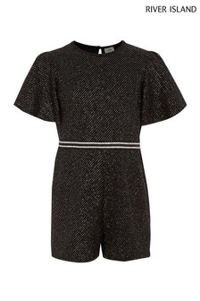 River Island Black Sparkly Playsuit