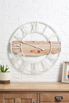 Driftwood And Metal Wall Clock