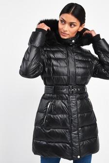UGG® Black Valerie Belted Down Coat