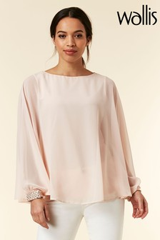 Wallis Blush Embellished Cuff Blouse