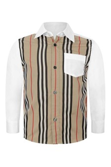 Boys White/Beige Icon Stripe Cotton Shirt