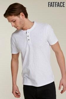 FatFace White Slub Henley T-Shirt