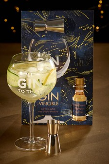 Gin Glass and Flavoured Syrup Gift Set