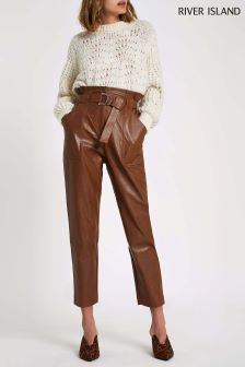 River Island Faux Leather Relaxed Fit Trouser