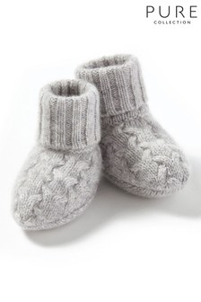 Pure Collection Grey Cashmere Baby Cable Booties