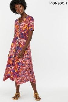 Vestido a media pierna conbajo estilo pañuelo en rosa estampado Josie de Monsoon Ladies