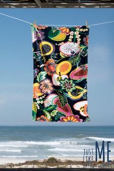 מגבת לחוף-הים בהדפס טרופי