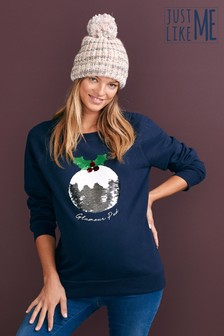 Womens Matching Family Maternity Christmas Pudding Sweater
