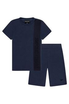 Emporio Armani Boys Navy T-Shirt And Shorts Set