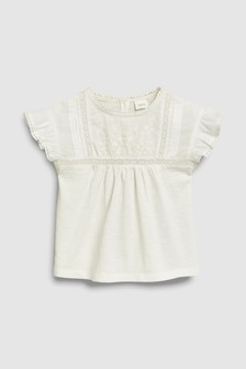 Embroidered Short Sleeve Blouse (3mths-7yrs)