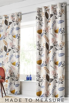 Mari Floral Print Eyelet Curtains
