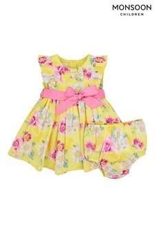 Monsoon Yellow Newborn Baby Floral Dress Set