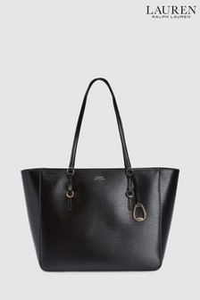 910dcd6abfae Polo Ralph Lauren® Black Leather Tote Bag
