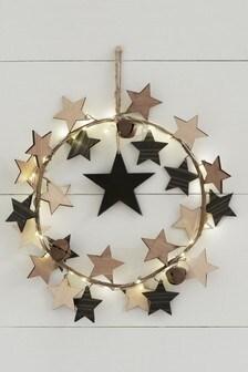 Lit Wooden Star Wreath