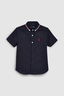 短袖滾邊領口裝飾襯衫 (3-16歲)