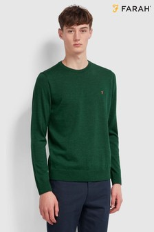 Farah Green Mullen Wool Crew Neck Jumper