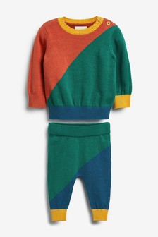 Two Piece Colourblock Knitted Jumper And Leggings Set (0mths-2yrs)