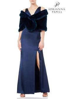 Adrianna Papell Blue Faux Fur Shrug