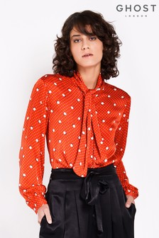Ghost London Red Printed Piper Satin Blouse