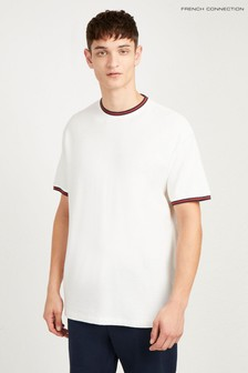 f2021a70603 French Connection White Textured Dobby Jersey Relaxed Fit Crew
