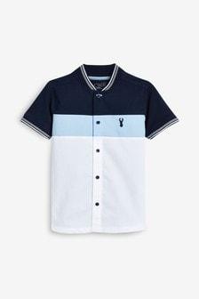 Colourblock Woven Front Poloshirt (3-16yrs)