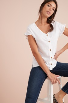 Ruffle Sleeve Button Front T-Shirt